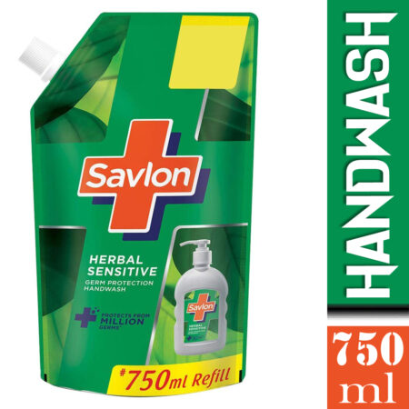 Savlon Herbal Sensitive pH balanced Liquid Handwash Refill Pouch, 750ml
