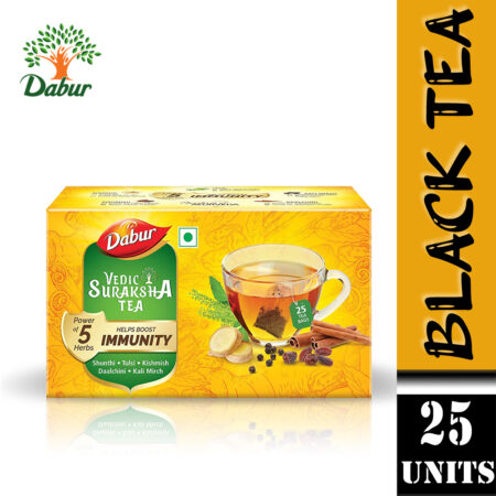 Dabur Vedic Suraksha Black Tea, 25 Tea Bags (Pack of 2)