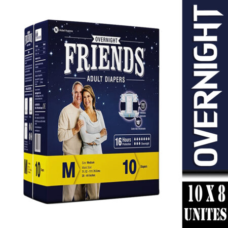 Friends Overnight Adult Diapers Medium Size 10 Pcs (Pack of 8)