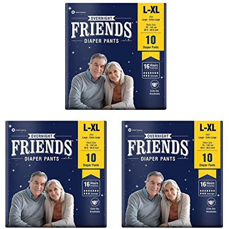 Friends Overnight Adult Diapers Pants Style – 30 Count (L-XL) with odour lock and Anti-Bacteri
