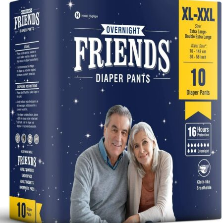 Friends Overnight Adult Diapers Pants Style – 10 Count (XL-XXL) with odour lock and Anti-Bacterial Absorbent Core- Waist Size 30-56 inch ; 76-142cm