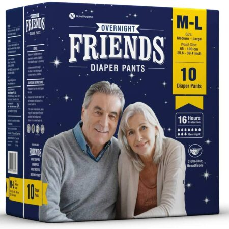 Friends Overnight Adult Diapers Pants Style – 10 Count (M-L) with odour lock and Anti-Bacterial Absorbent Core- Waist Size 25.6-39.4 inch ; 66-100cm