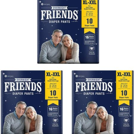 Friends Overnight Adult Diapers Pants Style – 30 Count (XL-XXL) with odour lock and Anti-Bacterial Absorbent Core- Waist Size 30-56 inch ; 76-142cm