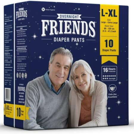 Friends Overnight Adult Diapers Pants Style – 10 Count (L-XL) with odour lock and Anti-Bacterial Absorbent Core- Waist Size 31.5-42.7 inch ; 80-120cm