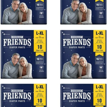 Friends Overnight Adult Diapers Pants Style – 60 Count (L-XL) with odour lock and Anti-Bacteri