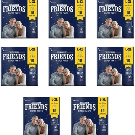 Friends Overnight Adult Diapers Pants Style – 80 Count (L-XL) with odour lock and Anti-Bacterial Absorbent Core- Waist Size 31.5-42.7 inch ; 80-120cm