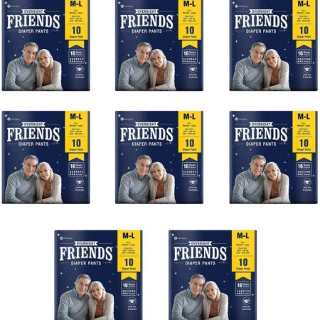 Friends Overnight Adult Diapers Pants Style – 80 Count (M-L) with odour lock and Anti-Bacteria