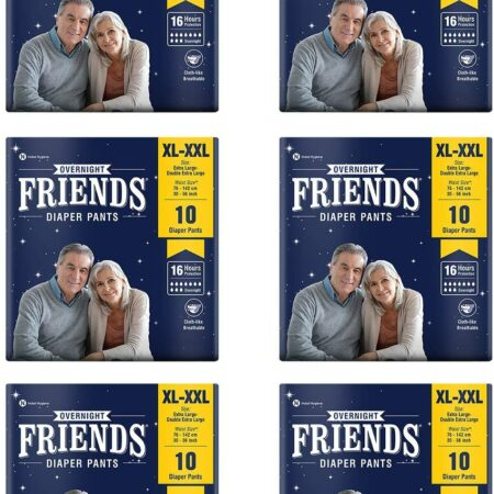 Friends Overnight Adult Diapers Pants Style – 60 Count (XL-XXL) with odour lock and Anti-Bacte