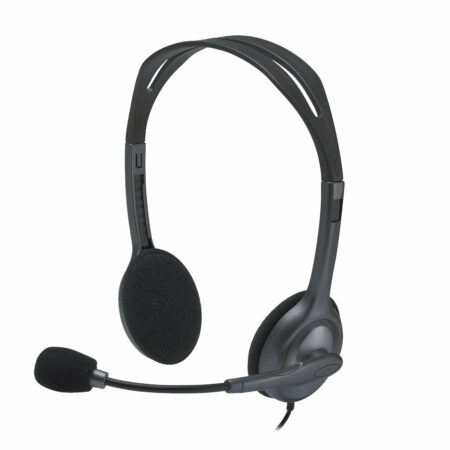 Logitech H111 Wired Headset, Stereo Headphones with Noise-Cancelling,  3.5 mm Audio Jack, (Black)