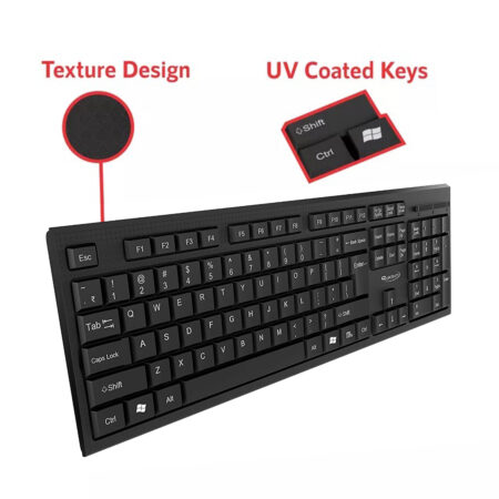 Quantum QHM-7406 Full-Sized Keyboard with Rupee Symbol, Hotkeys and 3-pieces LED function for Deskto