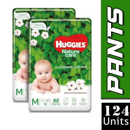 Huggies Nature Care Pants, Medium, 124 Count, Nature's gentle protection with organic cotton