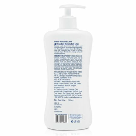Chicco Baby Moments Body Lotion, Deep Nourishment, Non-sticky Formula, Dermatologically tested Paraben and Mineral Oil free (500 ml)