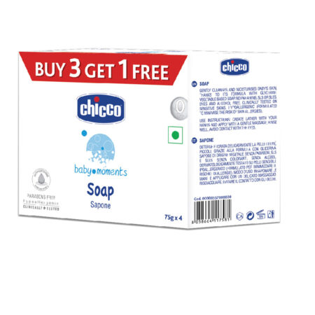 Chicco Baby Moments Soap, Moisturising and Nourishing, 0m+, Dermatologically tested, Paraben free Pack of 4