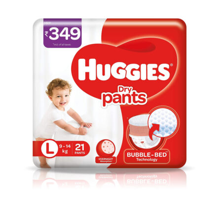 Huggies Dry Pants, Large (L) Size Baby Diaper Pants, 21 count, with Bubble Bed Technology for comfort