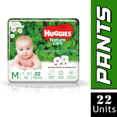 Huggies Nature Care Pants, Medium (M) Size Baby Diaper Pants, 22 Count, Nature's gentle protection