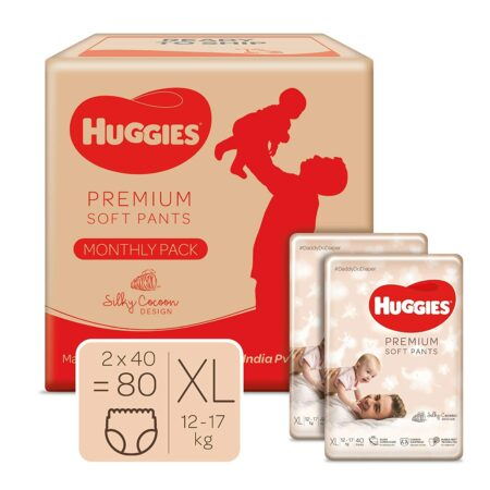 Huggies Premium Soft Pants, Monthly Box Pack, Extra Large (XL) Size baby diaper pants, 80 count