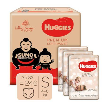 Huggies Premium Soft Pants, Sumo Monthly Box Pack Diapers, Small Size, 246 Units