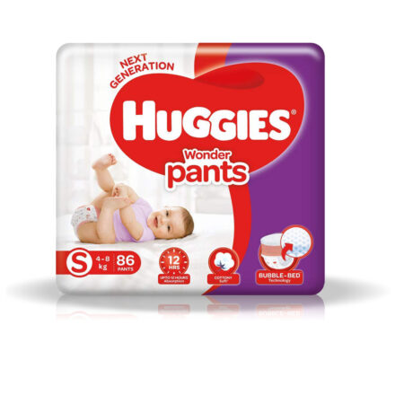 Huggies Wonder Pants Small (S) Size Baby Diaper Pants, 86 count, with Bubble Bed Technology for comf