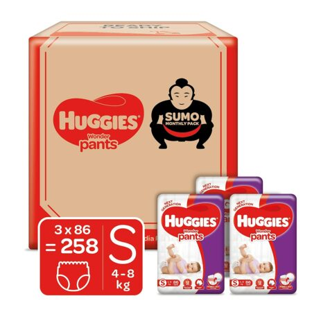 Huggies Wonder Pants Diapers Sumo Pack, Small (S) size baby diaper pants, 258 count, with Bubble Bed Technology