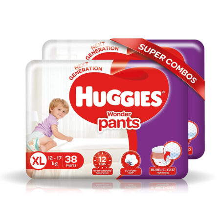 Huggies Wonder Pants Extra Large Size Diapers Combo Pack of 2, 38 Counts Per Pack (76 Counts)
