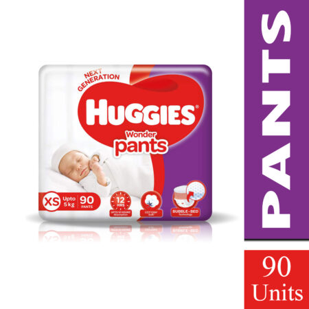 Huggies Wonder Pants Extra Small / New Born (XS / NB) Size Diaper Pants, 90 count, with Bubble Bed T