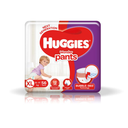 Huggies Wonder Pants Extra Large (XL) Size Baby Diaper Pants, 56 count, with Bubble Bed Technology f