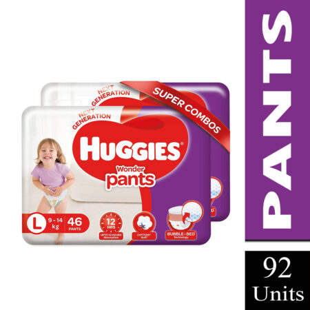 Huggies Wonder Pants Large Size Diapers Combo Pack of 2, 46 Counts Per Pack