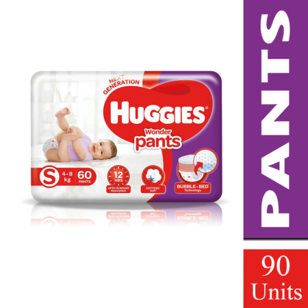 Huggies Wonder Pants Small (S) Size Baby Diaper Pants, 60 count, with Bubble Bed Technology for comf
