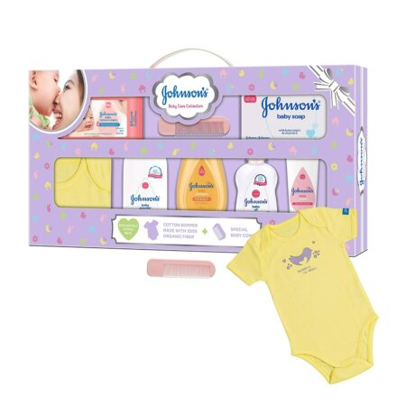 Johnson's Baby Care Collection Baby Gift Set with Organic Cotton Baby Dress (9 Pieces)