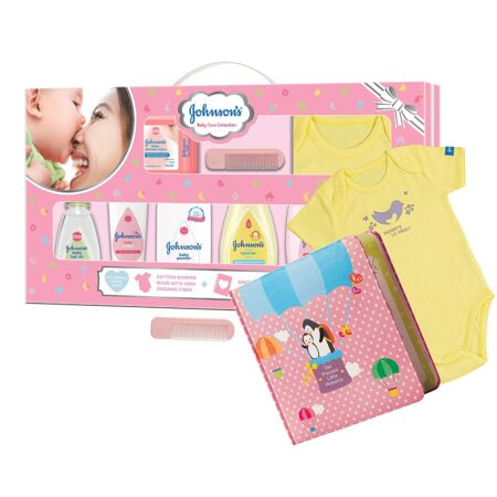 Johnson's Baby Care Collection Baby Gift Set with Organic Cotton Baby Dress and Milestone Book