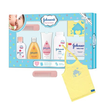 Johnson's Baby Care Collection Baby Gift Set with Organic Cotton Bib & Baby Comb (5 piece