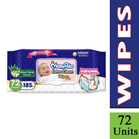 MamyPoko Extra clean wipes with Aloe Vera – Pack of 72 wipes