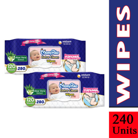 MamyPoko Extra clean wipes with Aloe Vera, 120 wipes (Pack of 2)