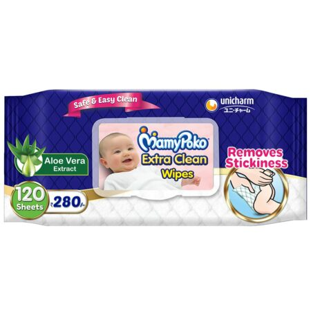 MamyPoko Extra clean wipes with Aloe Vera, 120 wipes