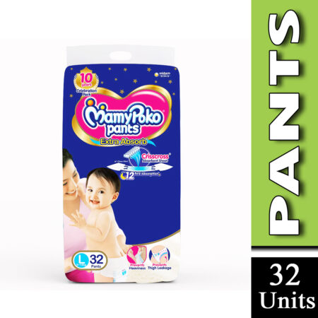 MamyPoko Pants Extra Absorb Baby Diapers, Large (9 – 14 kg) Pack of 32