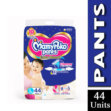 MamyPoko Pants Extra Absorb Baby Diapers, Large (9 - 14 kg) Pack of 44