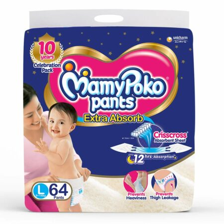 MamyPoko Pants Extra Absorb Baby Diapers, Large (9 – 14 kg) Pack of 64