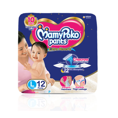 MamyPoko Pants Extra Absorb Baby Diapers, Large (9 – 14 kg) Pack of 12