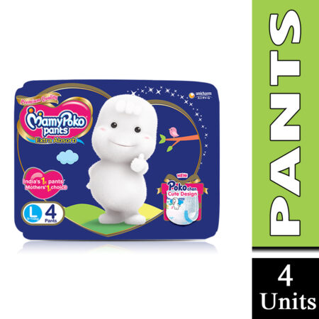 MamyPoko Pants Extra Absorb Baby Diapers Monthly Pack, Large (9 – 14 kg) Pack of 4