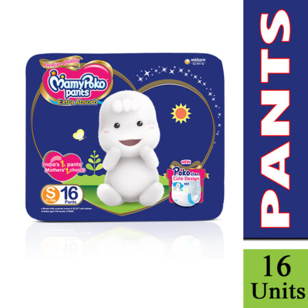 MamyPoko Pants Extra Absorb Diaper, Small (Pack of 16)