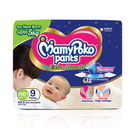 MamyPoko Pants New Born baby Size NB-1, Pack of 9