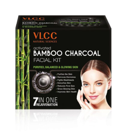 VLCC Activated Bamboo Charcoal Facial Kit For Purified- Balanced & Glowing Skin 60g