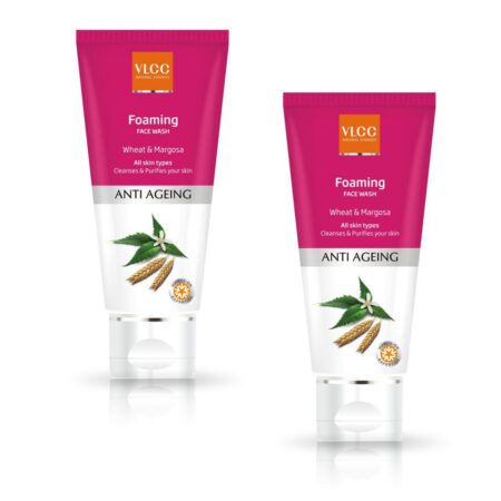 VLCC Anti Ageing Foaming Wheat and Margosa Face Wash (100ml) Pack of2