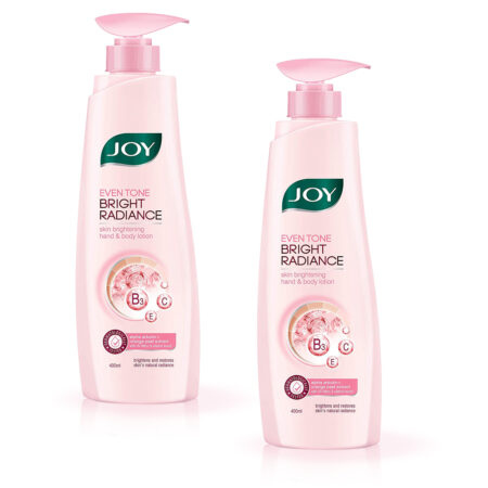 Joy Even Tone Bright Radiance Skin Brightening Hand & Body Lotion, (400ml) Pack of 2