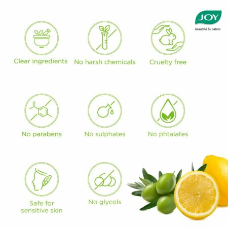 Joy Hair Fruits Hair Dryness Control Conditioning Shampoo Enriched with Lemon and Olives, 340ml