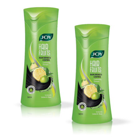 Joy Hair Fruits Hair Dryness Control Conditioning Shampoo Enriched with Lemon and Olives Pack of 2