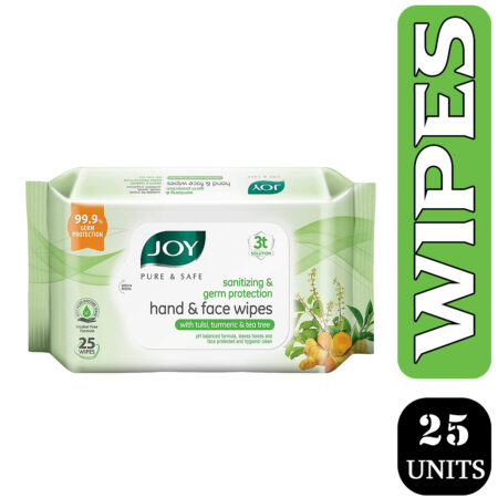 Joy Pure & Safe Germ Protection Hand & Face Sanitizing Wipes, (25 Wipes)