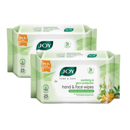 Joy Pure & Safe Germ Protection Hand & Face Sanitizing Wipes, Pack of 2