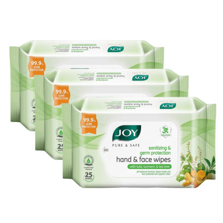Joy Pure & Safe Germ Protection Hand & Face Sanitizing Wipes, Pack of 3