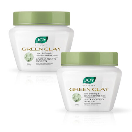 Joy Revivify Green Clay Mask, Pore Clarifying and Pollution Defense Mask, 250 gm Pack of 2